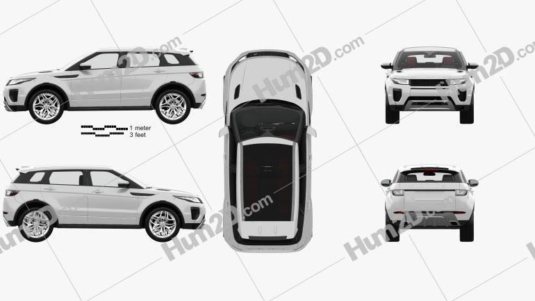 Land Rover Range Rover Evoque HSE 5-door with HQ interior 2015 car clipart