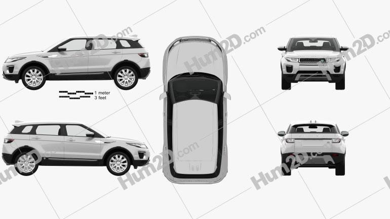 Land Rover Range Rover Evoque SE 5-door with HQ interior 2015 car clipart