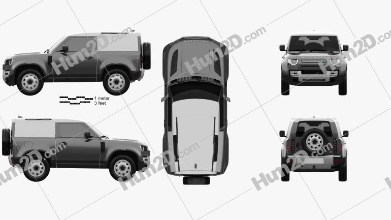 Land Rover Defender 90 HardTop 2020 Clipart Image