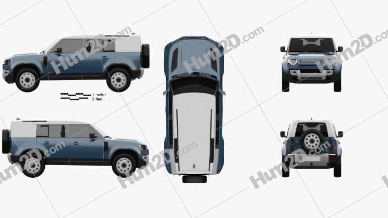 Land Rover Defender 110 HardTop 2020 car clipart