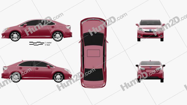 Lexus HS 2010 Clipart Image
