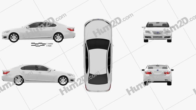 Lexus LS (XF40) 600h 2010 Clipart Image