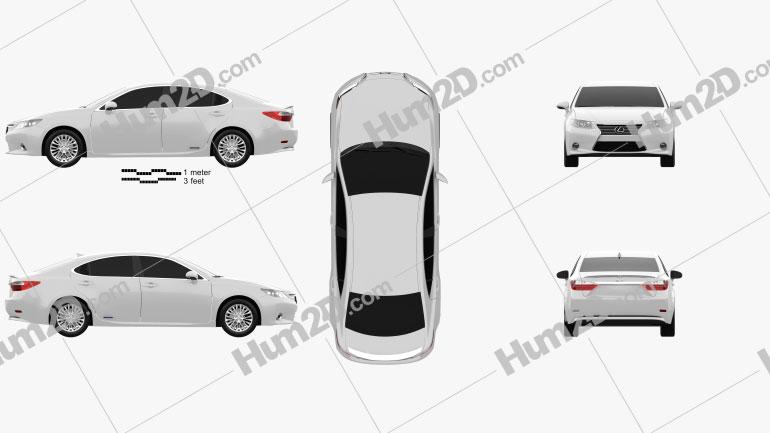 Lexus ES hybrid (XV50) 2013 Clipart Image