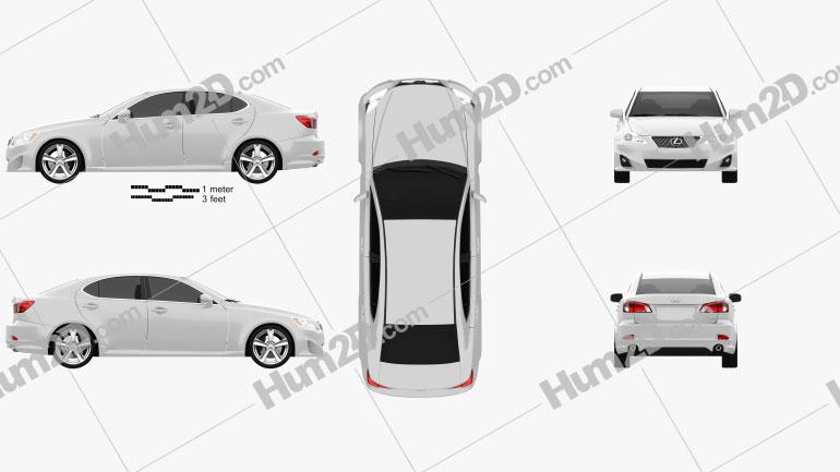Lexus IS (XE20) 2012 Clipart Image