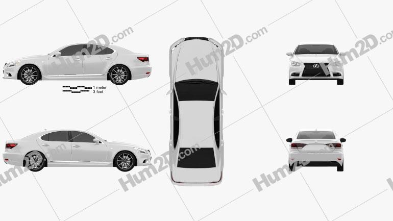 Lexus LS F sport (XF40) 2012 Clipart Image