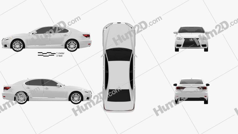 Lexus LS (XF40) 2012 car clipart