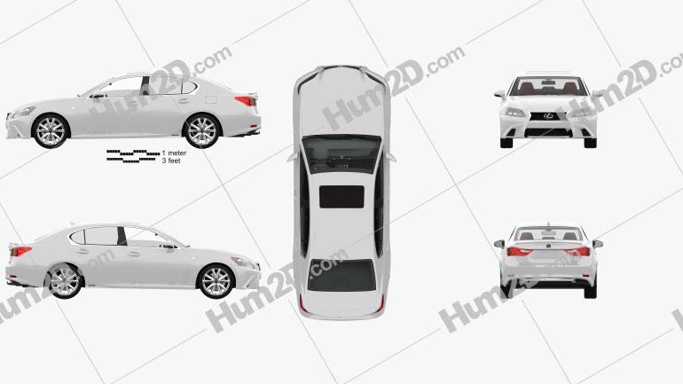 Lexus GS F Sport hybrid (L10) mit HD Innenraum 2012 car clipart