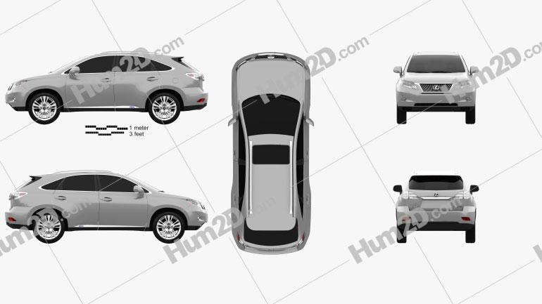 Lexus RX hybrid 2009 car clipart