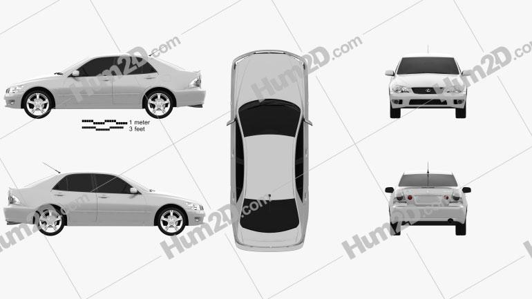 Lexus IS (XE10) 2001 car clipart