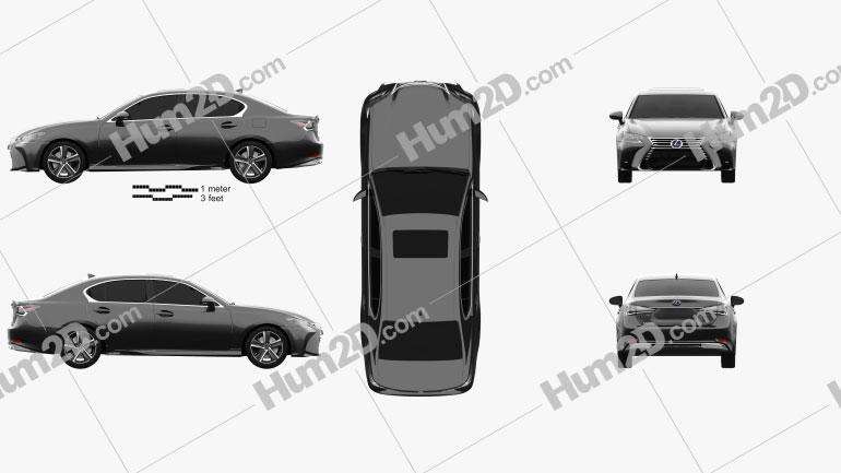 Lexus GS Hybrid 2015 Clipart Image