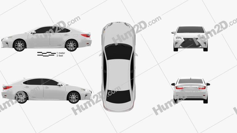 Lexus ES Hybrid 2015 Clipart Image