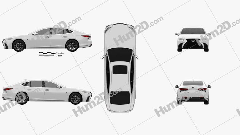 Lexus LS (XF50) F Sport 2018 car clipart
