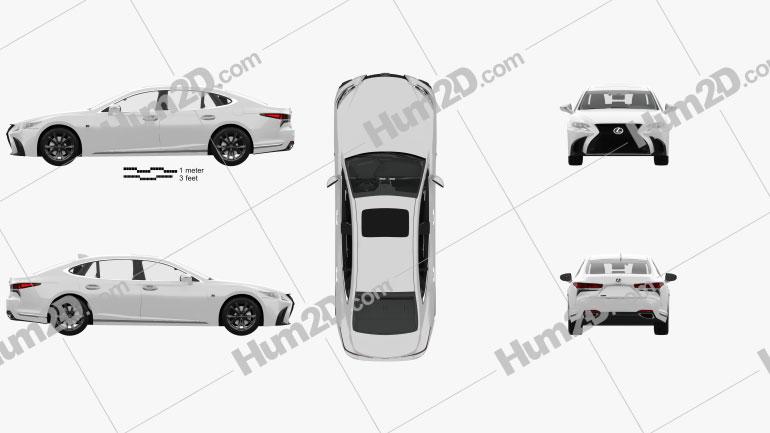 Lexus LS (XF50) F Sport mit HD Innenraum 2018 car clipart