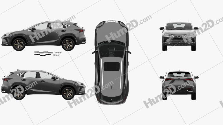 Lexus NX hybrid with HQ interior 2017 car clipart