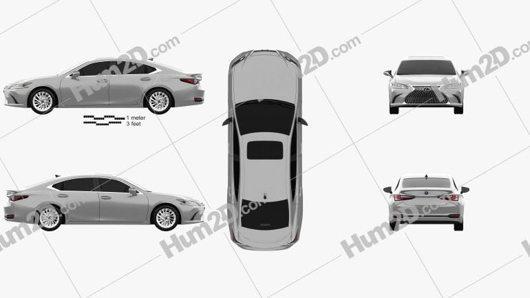 Lexus ES 300h 2019 Clipart Image