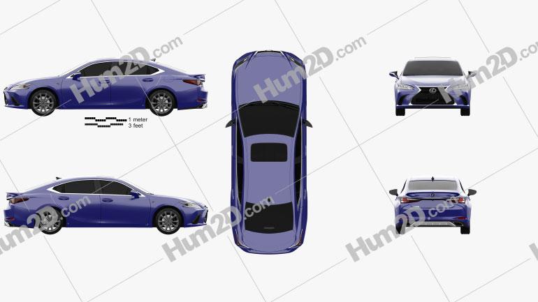 Lexus ES 350h F-sport 2019 car clipart