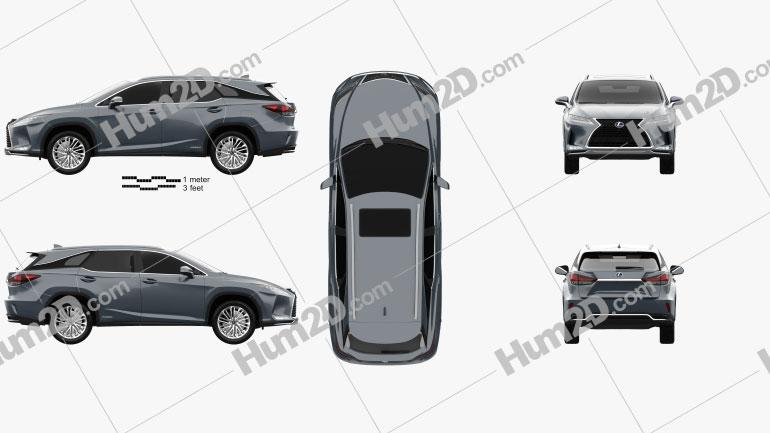 Lexus RX L hybrid 2019 car clipart