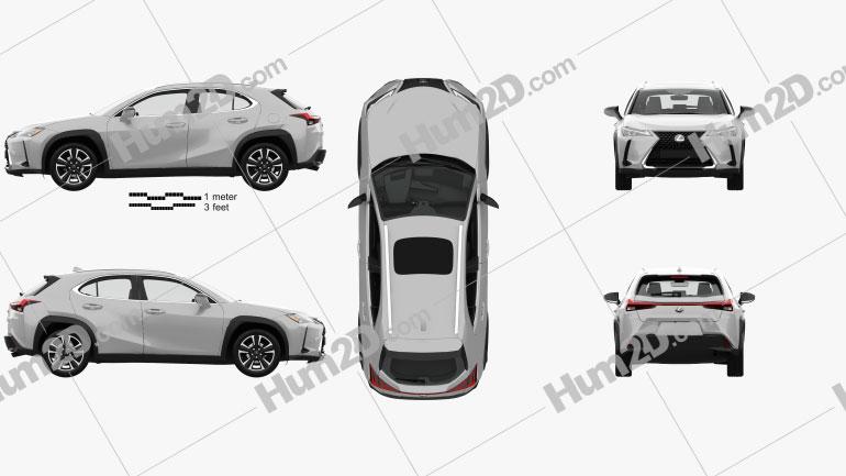 Lexus UX with HQ interior 2018 car clipart
