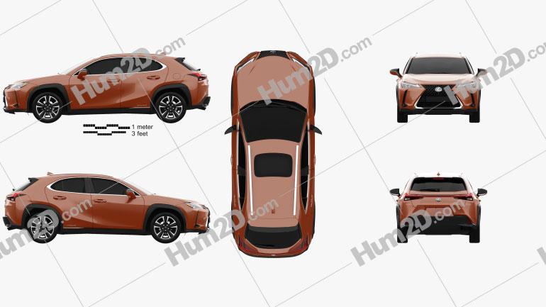 Lexus UX hybrid 2018 car clipart