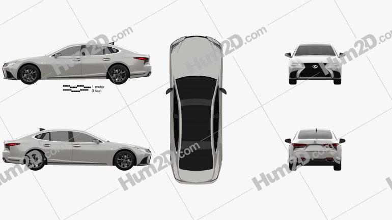Lexus LS F-Sport 2021 car clipart