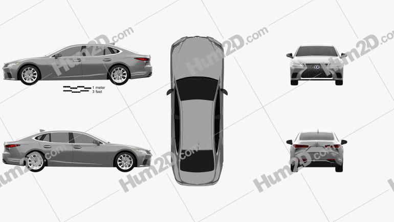 Lexus LS hybrid 2021 Clipart Bild