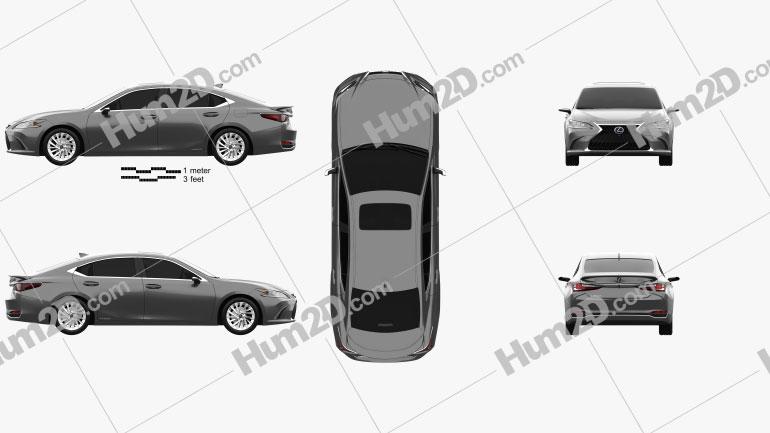 Lexus ES hybrid 2021 car clipart