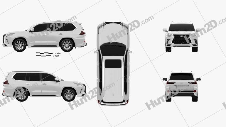 Lexus LX Sport Package US-spec 2019 car clipart
