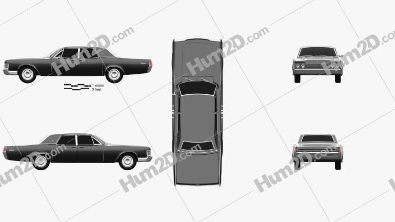 Lincoln Continental sedan 1968 car clipart