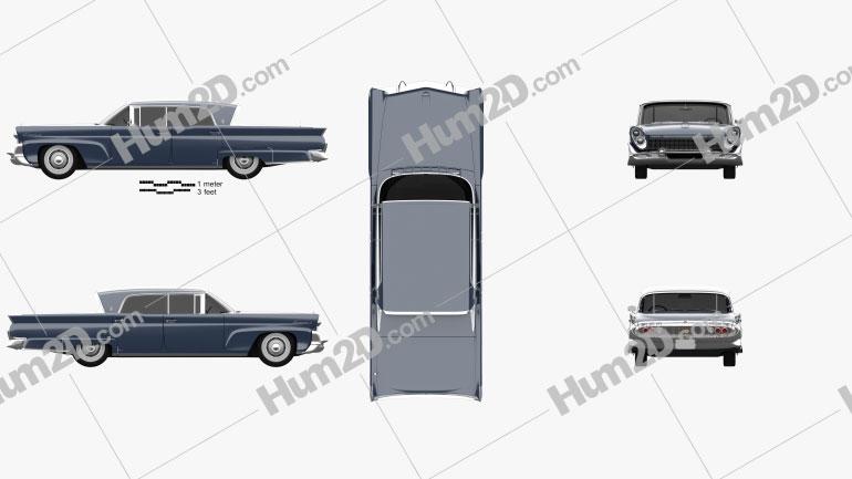 Lincoln Continental Mark III Landau 1958 Clipart Image