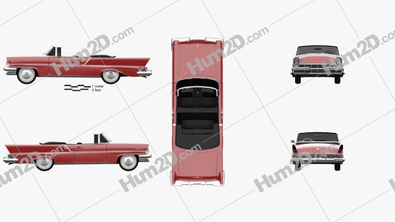 Lincoln Premiere Convertible 1957 car clipart