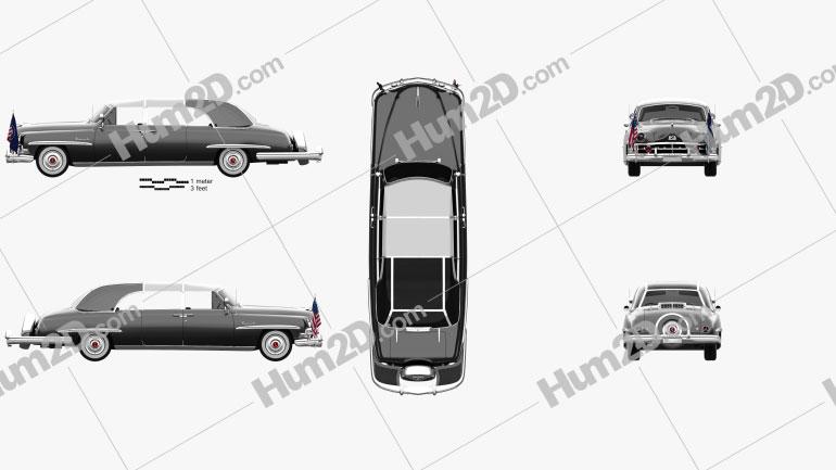 Lincoln Cosmopolitan Presidential Limousine 1950 car clipart