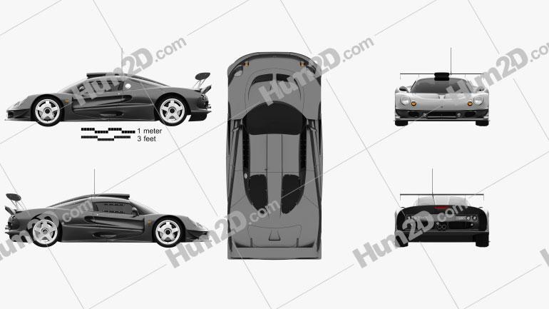 Lotus Elise GT1 1997 car clipart