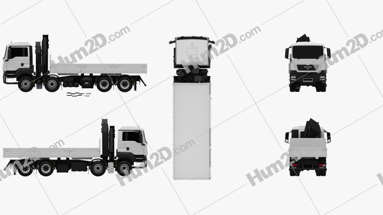 MAN TGS Flatbed Crane Truck 2012 clipart
