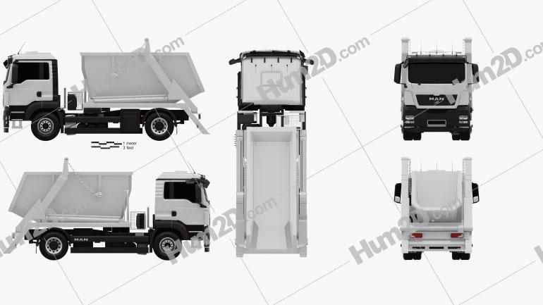 MAN TGS Skip Loader Truck 2012 clipart