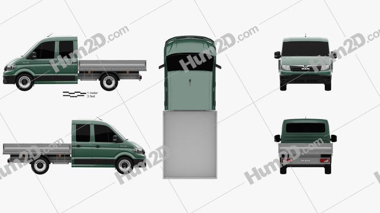 Pickup Truck Crew Cab Platform Body clipart