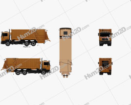 MAN F2000 Garbage Truck 1990 Clipart