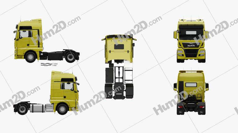 MAN TGX Tractor Truck 2-axle with HQ interior 2012 clipart
