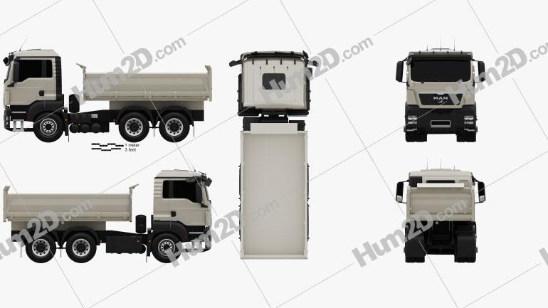 MAN TGS M Day Cab Meiller-Kipper D316 Tipper Truck 3-axle 2012 clipart