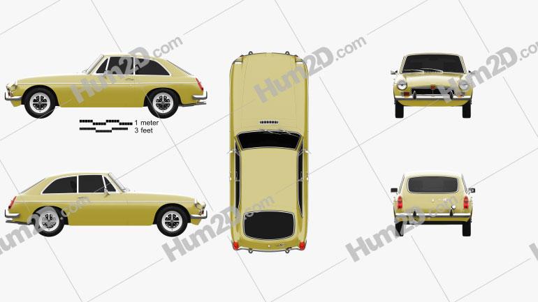 MG MGB GT V8 1973 car clipart