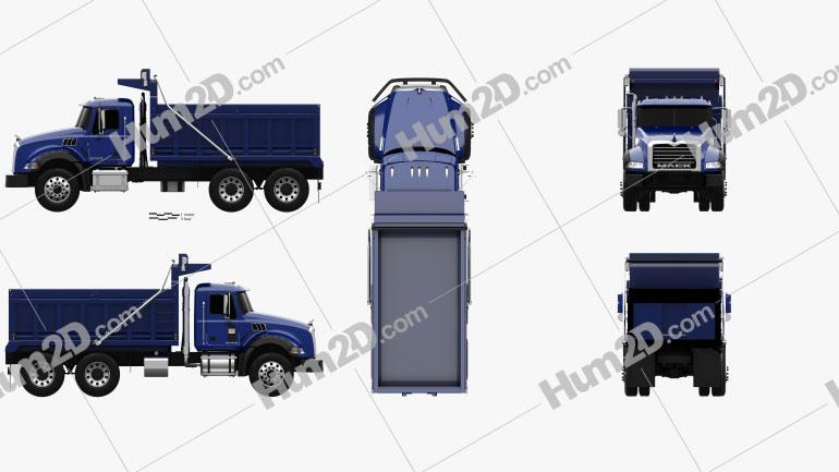 Mack Granite Dump Truck 2002 Clipart Image