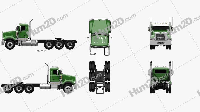 Mack Titan Tractor Truck 4axle 2007 Clipart Image