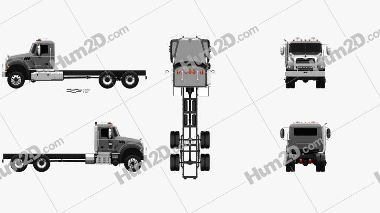 Mack Granite MHD Chassis Truck 2016 Clipart Image