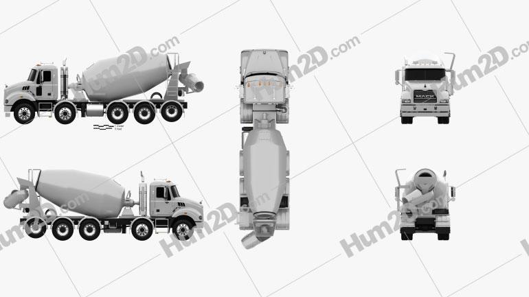 Mack Metro-Liner Concrete Agitator Truck 2007 clipart