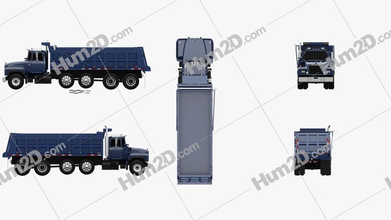 Mack RD600 Dump Truck 2000 Clipart Image