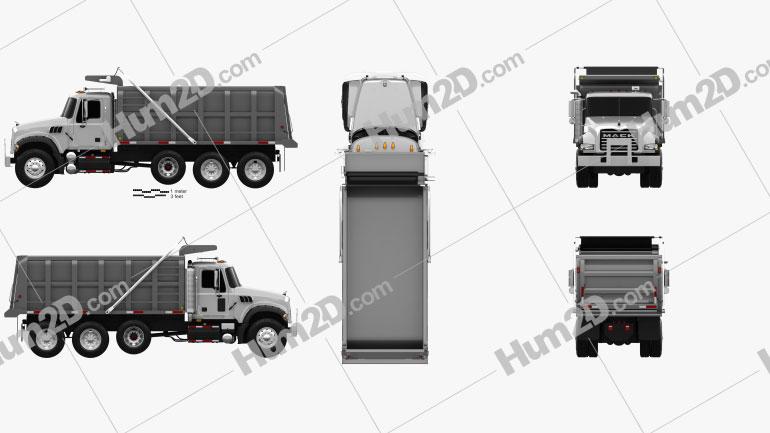Mack Granite CTP713 Tipper Truck 4-axle 2007 clipart