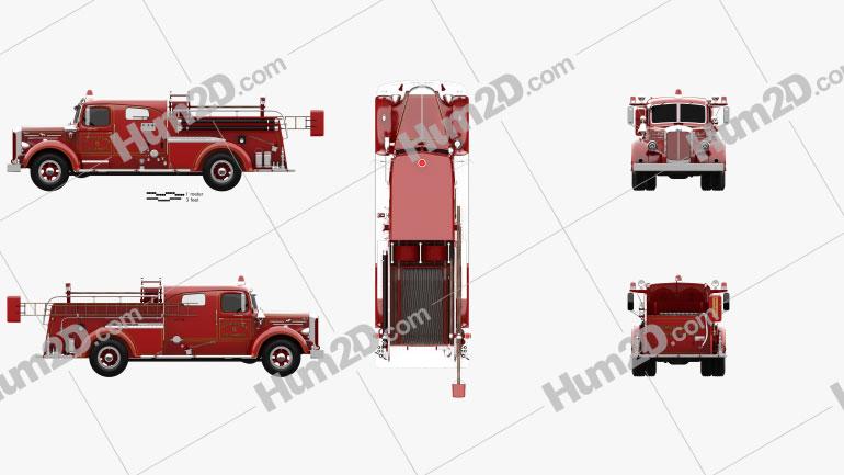 Mack Type 85 Fire Truck 1950 clipart
