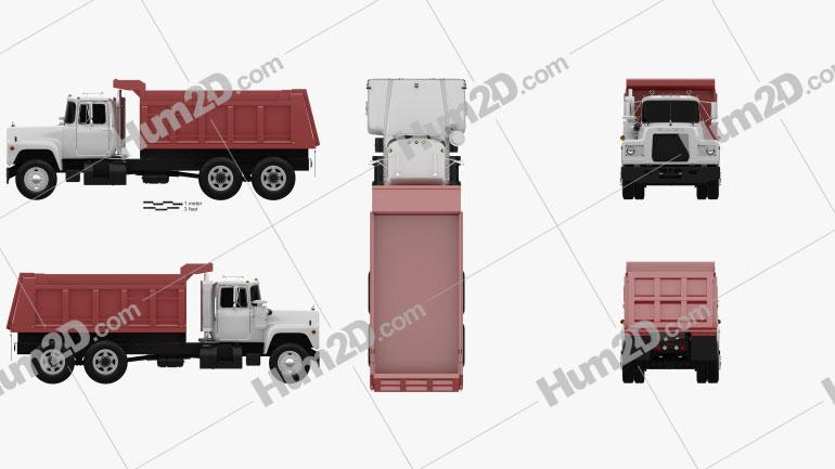 Mack R600 Dump Truck 1988 Clipart Image