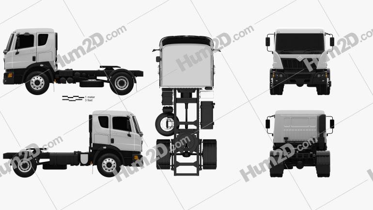 Mahindra Navistar MN35 Tractor Truck 2010 Clipart Image