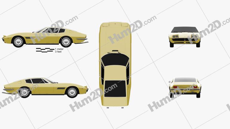 Maserati Ghibli coupe 1967 car clipart