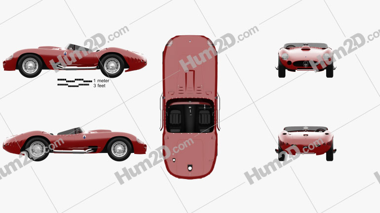Maserati 450S 1956 car clipart